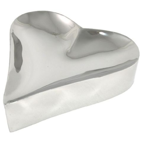 Silver Metal Heart Jewellery Trinket Ring Earring Storage Dish